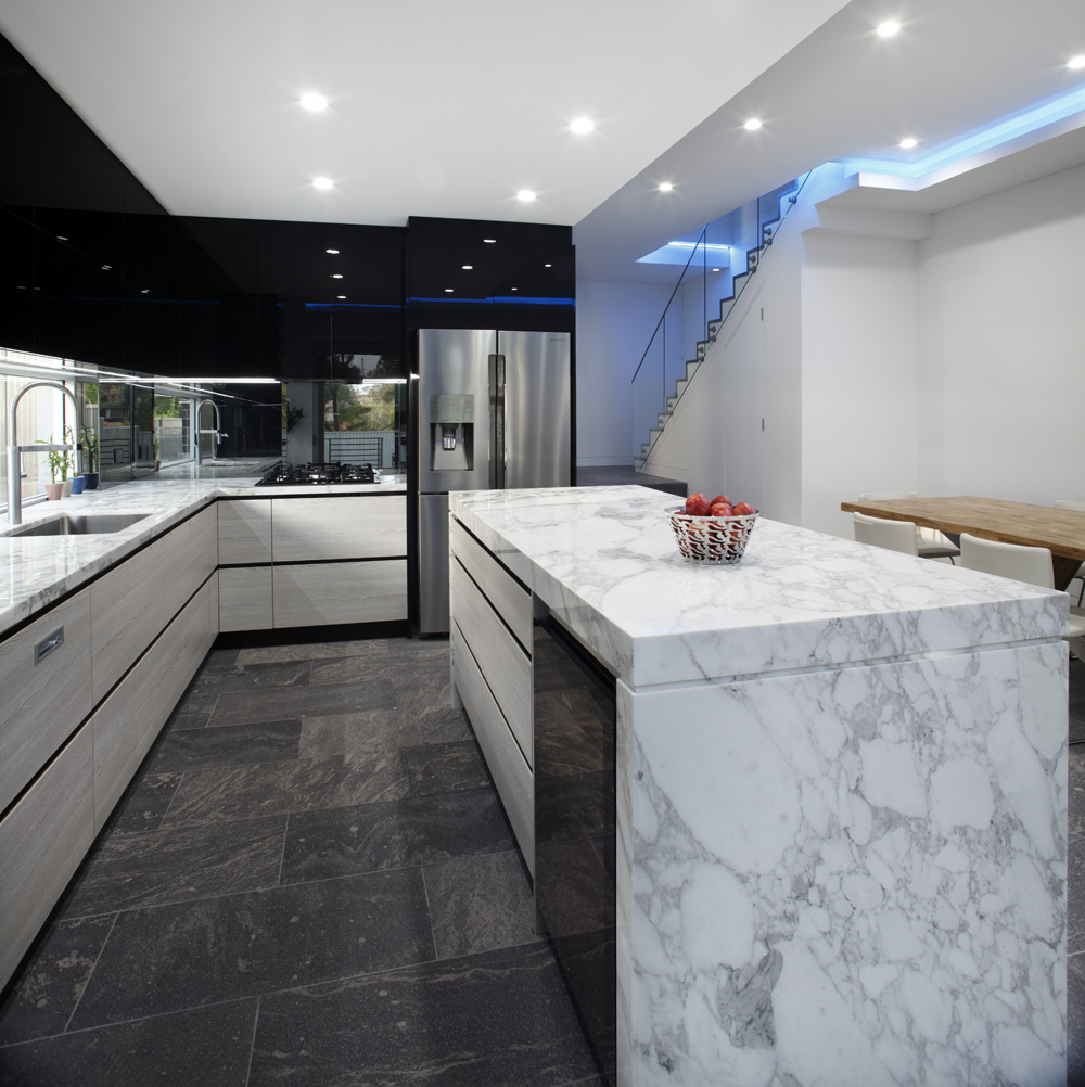 Kitchens sydney bathroom kitchen renovations sydney impala - A Thoroughly Modern And Futuristic Kitchen Creates A Splash In This New Home Using Interesting Contrasts And Textures This Space Is Beyond A